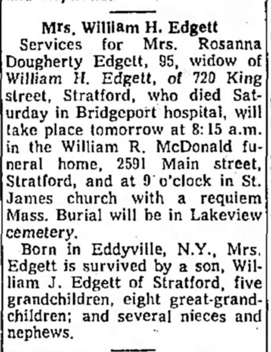 Mrs. William H. EdgettObituary -