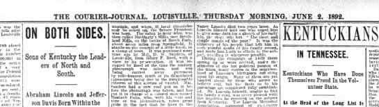 Lincoln info Louisville, Kentucky June 2, 1892 -