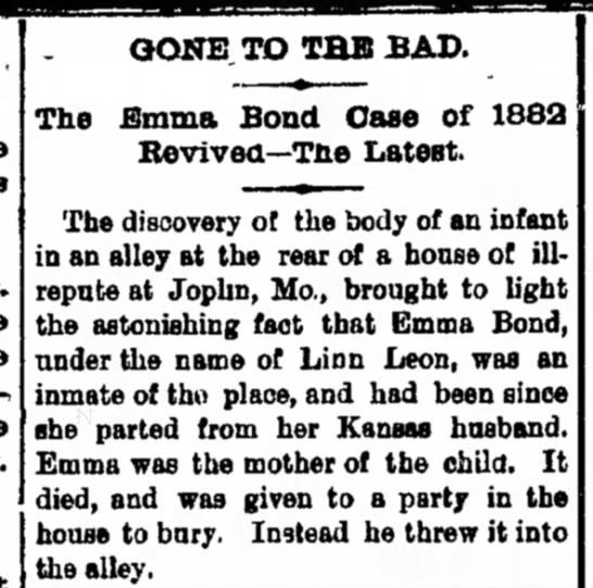 emma bond baby died -