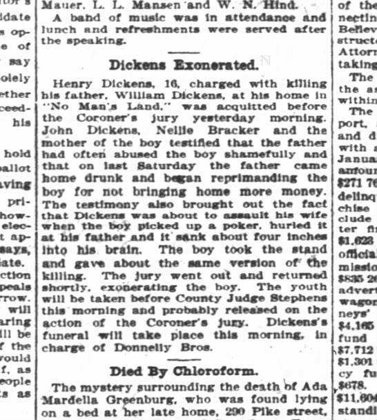 DICKENS ACQUITTED -