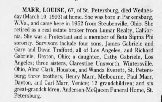 Louise Daisy Marr Died Mar 10 1993 Obit Funeral Notice Mar