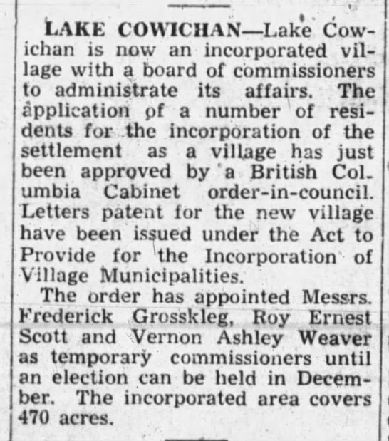 Lake Cowichan incorporation 1944 -