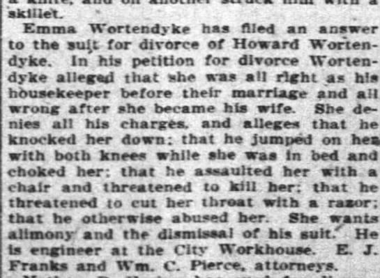 Emma and Howard Woretndyke divorce 1904 -