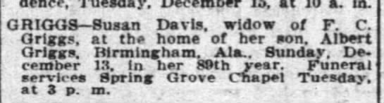 Susan Davis death notice 1903 - residence, Tuesday, December 15, at 10 a. in....