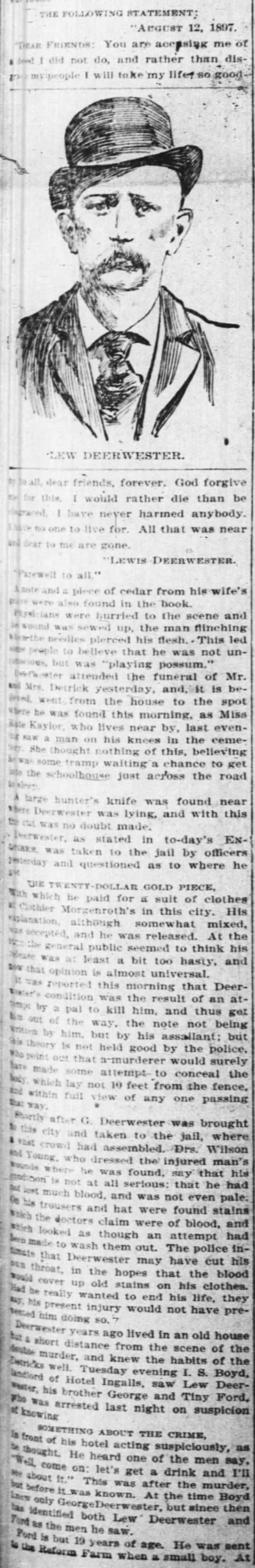GRAVES of His Wife and Child The Cincinnati Enquirer 14 Aug 1897 2 -