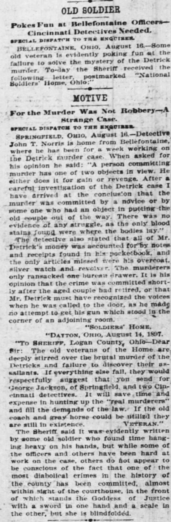 """ROBBERY"""" Old Soldier Motive The Cincinnati Enquirer 17 Aug 1897 8 -"""