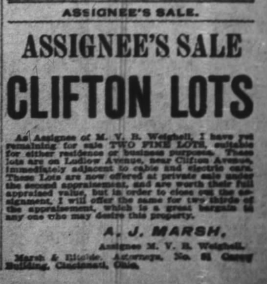 A.J. Marsh offers lots for sale in Clifton -