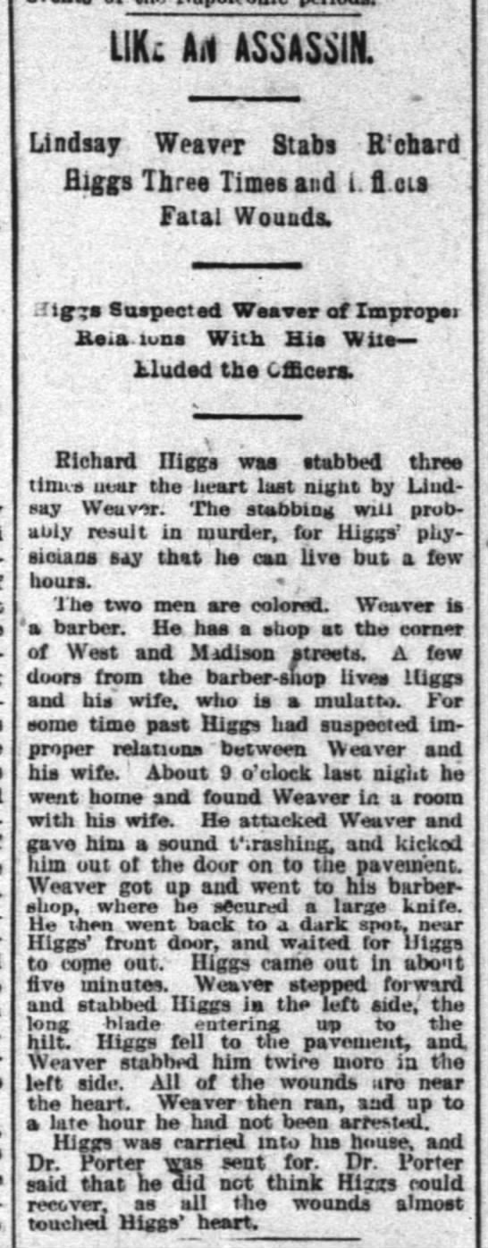 1894-11-12 HIGGS RICHARD - COLORED - STABBED BY LINDSAY WEAVER -