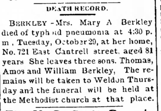 Mary Berkley death notice/ mother of Amos -