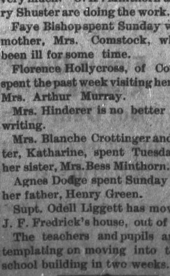 """Mrs Hinderer is no better at this writing. The union County Journal (Marysville), October 17, 1907 -"