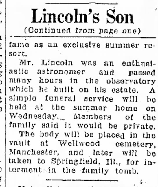 Robt Todd Lincoln obit part 2 -