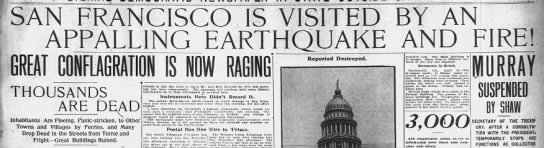 Earthquake strikes San Francisco, 1906 -