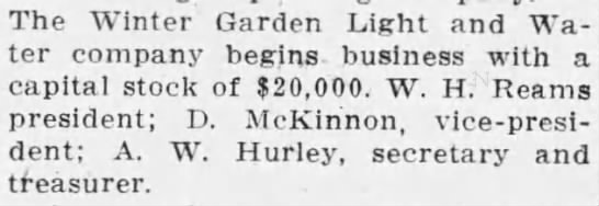 W.H. Reams, president of the Winter Garden Light and Water Company -