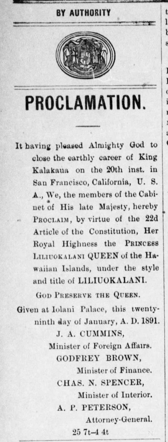 Liliuokalani Proclaimed Queen -