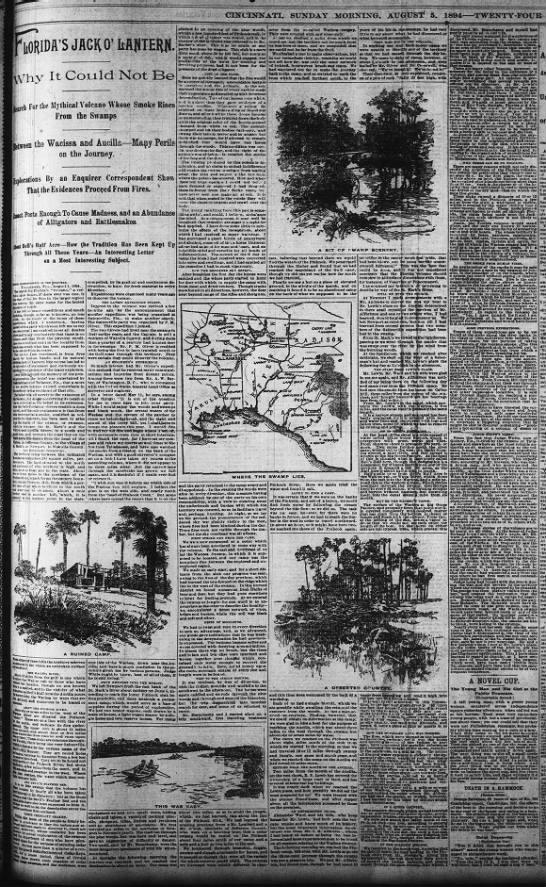 1894 Florida search for volcano in the swamp. - TMalmay - CIXCINXATI, SUNDAY MORXIXG. AUGUST 5. 1894...