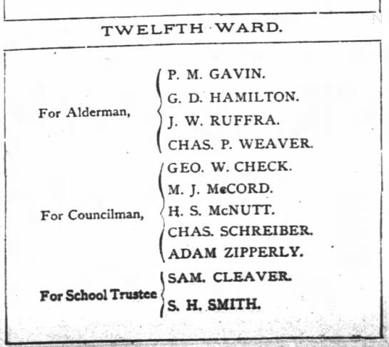 RUFFRA JW 12th Ward Alderman elections 3 Dec 1888 -