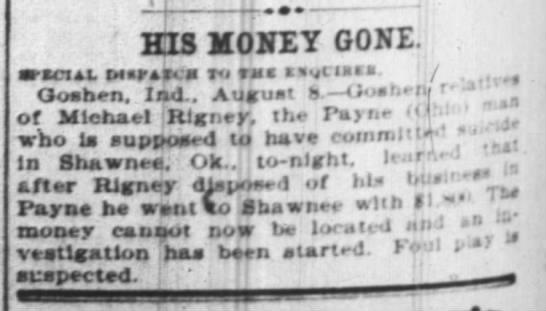 Michael Rigney money missing -