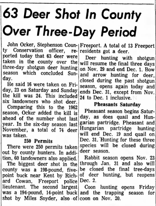 Freeport Journal-Standard, 11 November 1963, 63 Deer Shot In County Over Three-Day Period -