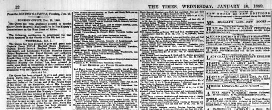 The Times 16th January 1889 -
