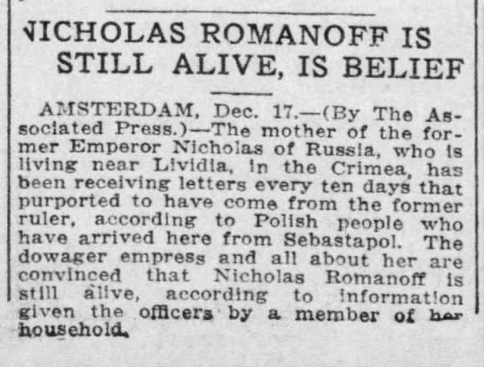Nicholas Romanoff Is Still Alive, Is Belief -