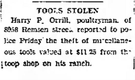 Harry Parker Orrill- Tools Stolen -