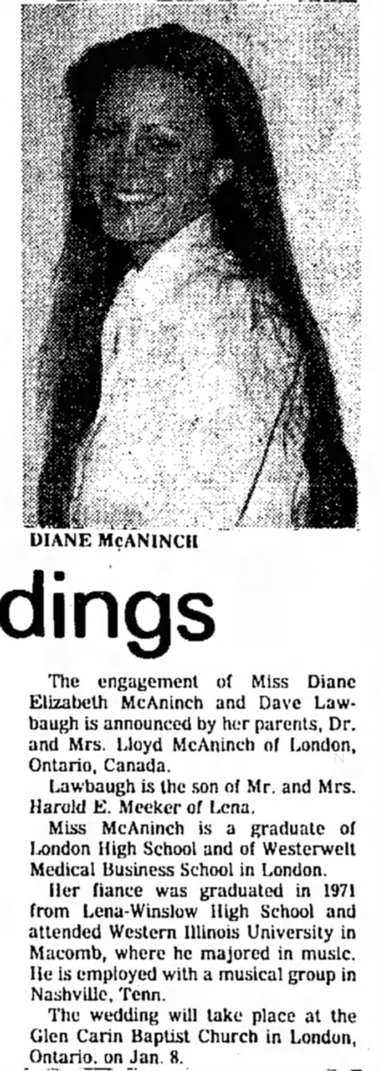 Dave and Diane engagement announcement 11-26-76 -
