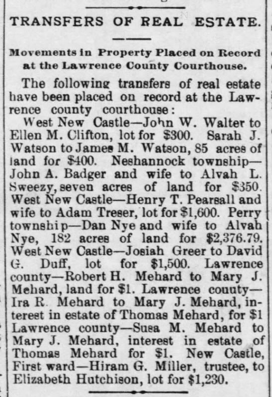 Transfer of Real Estate In Mehard Family - New Castle News, March 18, 1895 - P. 1 -