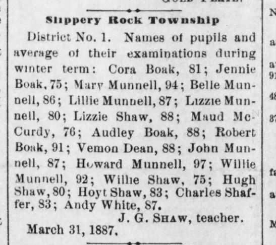 Munnell students 5 April 1887 -