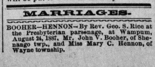 The Daily City News (New Castle, PA), 27 Aug 1887, page 3.  Mary C. Hennon-John V. Booher marriage -
