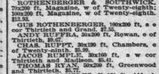 RUFFRA Andy property 13th & Rowan 15 Dec 1894 -