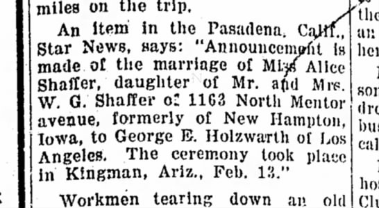WG Shaffer's daughter, Alice, getting married.  -