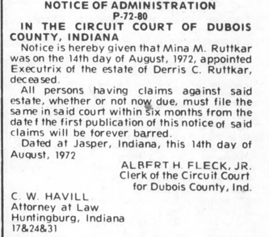 - NOTICE OF ADMINISTRATION P-72-80 IN THE CIRCUIT...