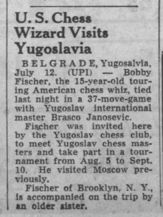 U.S. Chess Wizard Visits Yugoslavia -