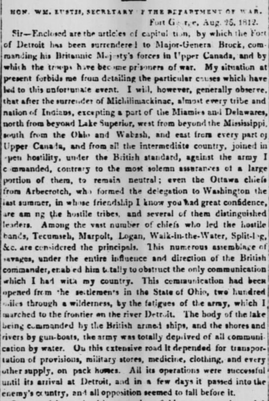 Report from Fort George to the British Secretary of War, 25 Aug 1812. -