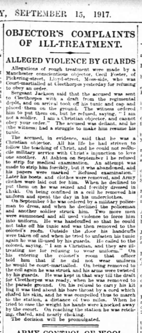 Christian Conscientious objector, Times (London) 15 Sept 1917, p.3 -