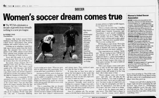 Women's soccer dream comes true -