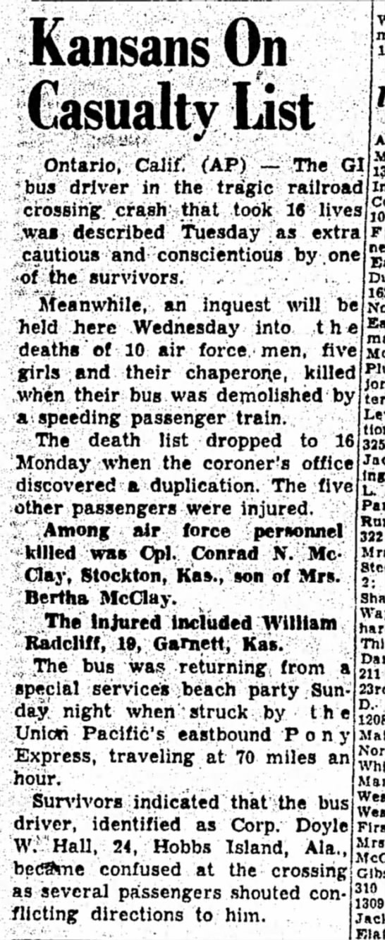 Kansans on Casualty List - The Hutchinson News - 4 Oct 1949 Page 24 - Billy Radcliff -