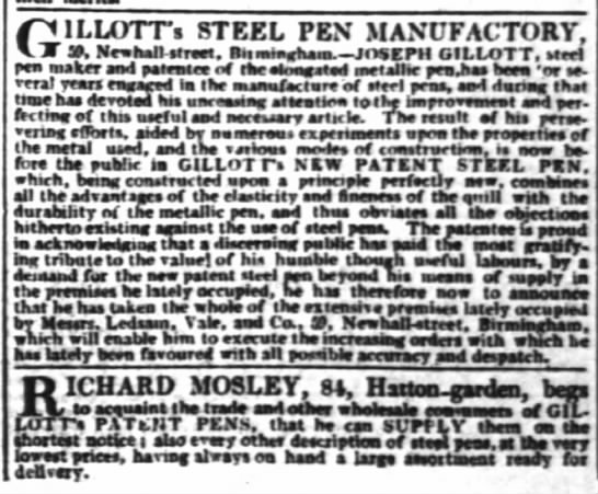 1832 - Earliest advertisement for Gillott's steel pen in The Times -
