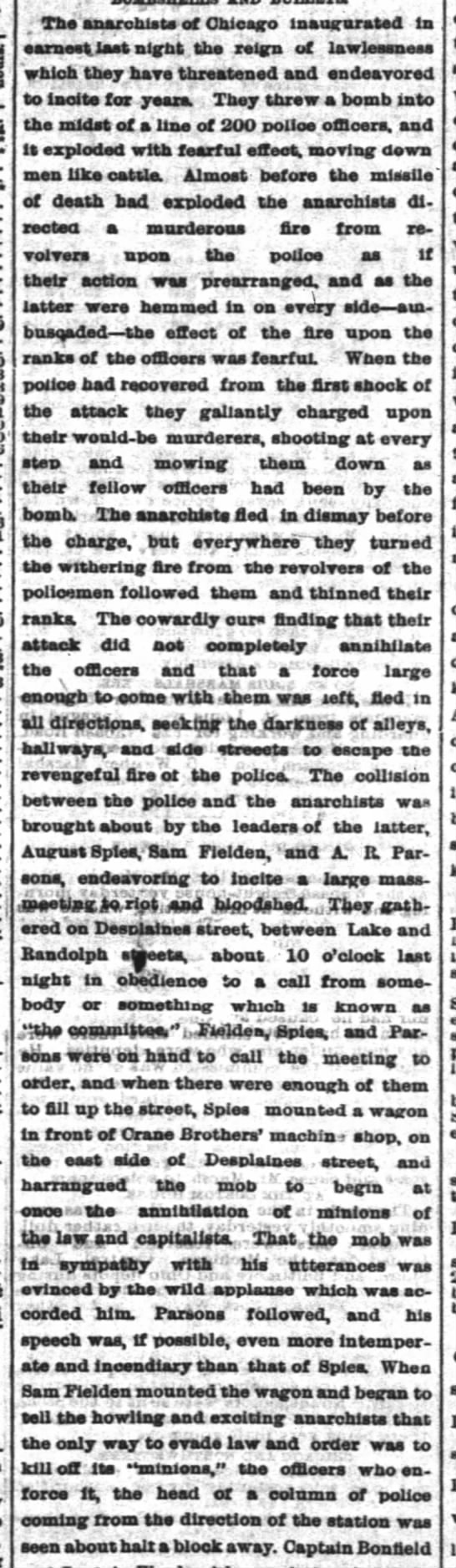 Dramatic pro-police, anti-anarchist account of the Haymarket Riot -