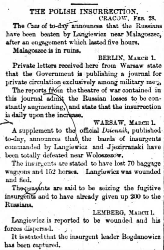 The Times London March 1863 -
