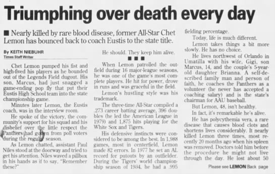 Triumphing over death every day: Nearly killed by rare blood disease, former All-Star Chet Lemon has -