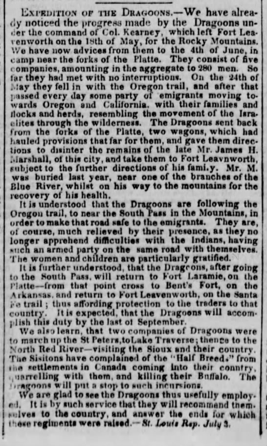 1845 - Dragoons on the Oregon Trail -