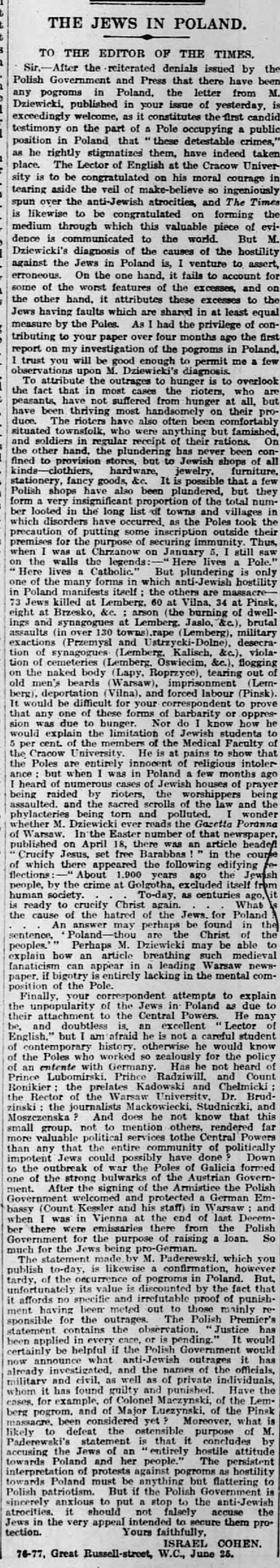 June 1919 Jews of Poland Letter to the Editor The Times London -