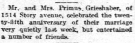 Primus Grieshaber 25th anniversary - Mr. and Mrs. Frimn. Grieshaber, of 1514 Story...