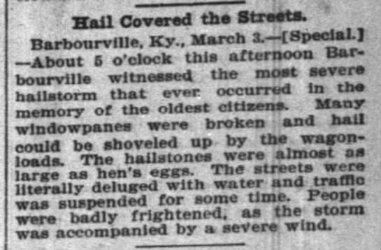 Barbourville hail covered streets 4 march 1899 -