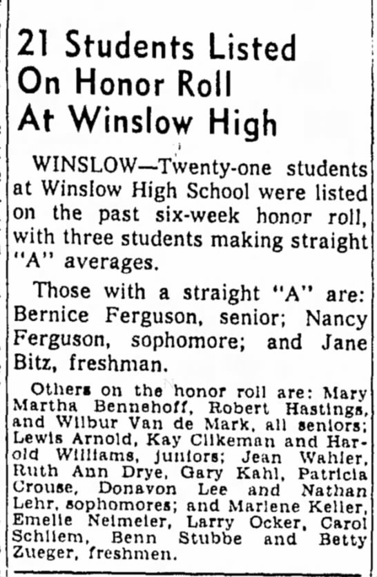 Freeport Journal-Standard, 5 March 1955, 21 Students Listed On Honor Roll At Winslow High -