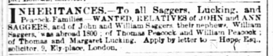 Saggers, Lucking, Peacock - 1860 inheritance? -