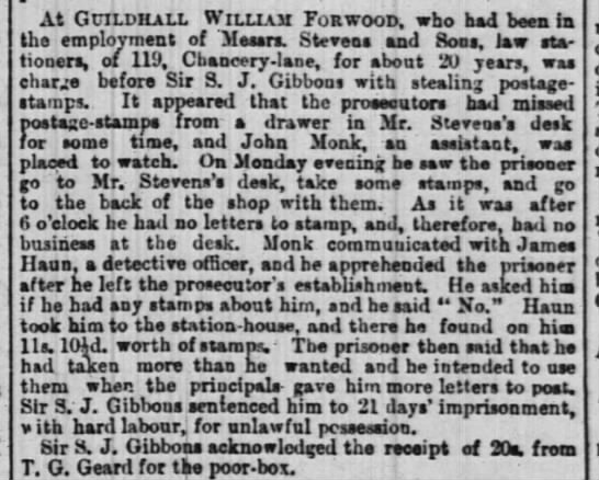 William Forwood, arrest for theft. 5 Feb 1873 -