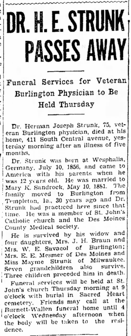 "The Burlington Hawk-Eye 18 May 1932 Page 12 ""Dr H E Strunk Passes Away"" -"