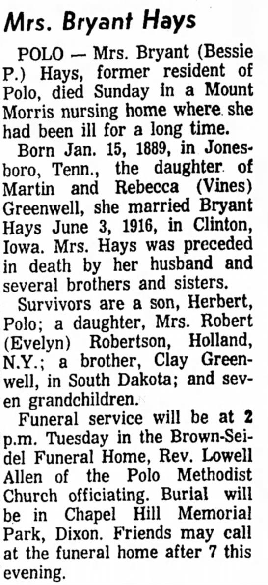 Mrs Bryant Hays obituary, 22 Feb 1965 -